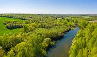 France, Cher, Berry, Mery sur Cher, Cher Valley, Cher river (aerial view) // France, Cher (18), Berry, Méry-sur-Cher, vallée du Cher (vue aérienne)