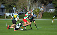 HOBM's Brandyn Laursen heads for the tryline during the Wellington premier club rugby Swindale Shield match between Hutt Old Boys Marist and Old Boys University at Hutt Rec in lower Hutt, New Zealand on Saturday, 29 August 2020. Photo: Dave Lintott / lintottphoto.co.nz