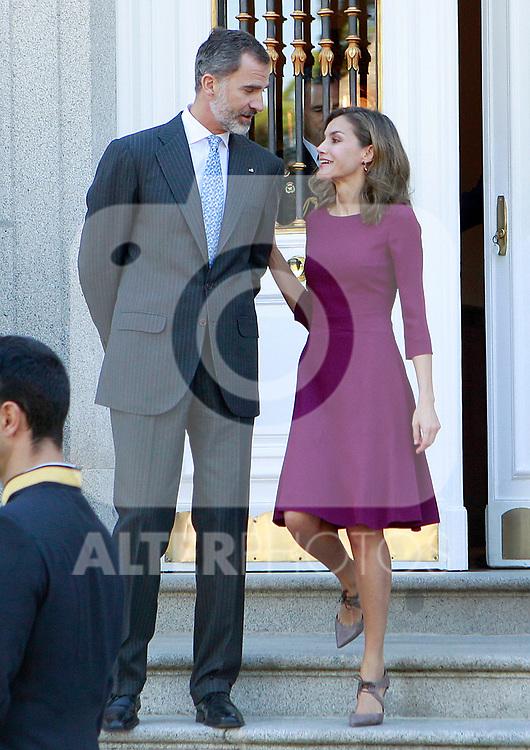 King Felipe VI of Spain and Queen Letizia of Spain receive Israeli President Reuven Rivlin for an official lunch at the Zarzuela Palace. November 6,2017. (ALTERPHOTOS/Acero)
