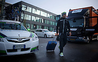 Michael Matthews (AUS/Orica-GreenEDGE) leaving the hotel to get to the race start<br /> <br /> 50th Amstel Gold Race 2015