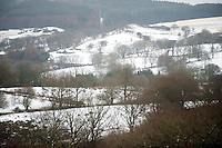 A snow covered view over Coelbren in the Swansea Valley in South Wales.