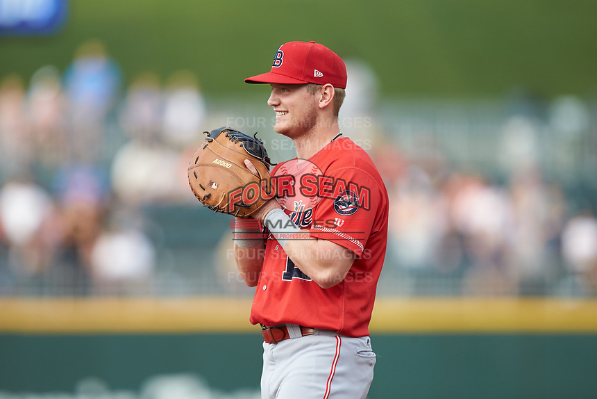Louisville Bats first baseman Josh VanMeter (15) on defense against the Charlotte Hornets at BB&T BallPark on June 22, 2019 in Charlotte, North Carolina. The Hornets defeated the Bats 7-6. (Brian Westerholt/Four Seam Images)