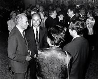 Pierre Trudeau<br /> discutant avec le Consul du Japon a Montreal Mr. Inomata, le 27 aout 1998 lors de l'ouverture du Festival Des Films du Monde, a la Place-des-arts<br /> <br /> <br /> <br /> PHOTO : Pierre Roussel - Agence Quebec Presse