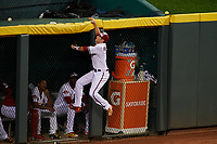 Arizona Diamondbacks outfielder A.J. Pollock attempts to catch a Brian Dozier (not shown) home run at the fence during the MLB All-Star Game on July 14, 2015 at Great American Ball Park in Cincinnati, Ohio.  (Mike Janes/Four Seam Images)