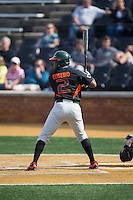Ricky Eusebio (2) of the Miami Hurricanes at bat against the Wake Forest Demon Deacons at Wake Forest Baseball Park on March 21, 2015 in Winston-Salem, North Carolina.  The Hurricanes defeated the Demon Deacons 12-7.  (Brian Westerholt/Four Seam Images)