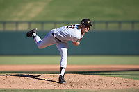Salt River Rafters relief pitcher Tommy Eveld (33), of the Miami Marlins organization, follows through on his delivery during an Arizona Fall League game against the Glendale Desert Dogs at Salt River Fields at Talking Stick on October 31, 2018 in Scottsdale, Arizona. Glendale defeated Salt River 12-6 in extra innings. (Zachary Lucy/Four Seam Images)