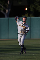 Aaron Knapp (23) of the California Bears throws in the outfield before a game against the Southern California Trojans at Dedeaux Field on March 18, 2016 in Los Angeles, California. California defeated Southern California, 5-4. (Larry Goren/Four Seam Images)