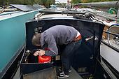 Houseboat on the River Lea, Hackney, London. Lee Valley Marina.