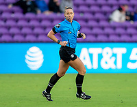 ORLANDO, FL - FEBRUARY 21: Referee Tori Penso runs the field during a game between Canada and Argentina at Exploria Stadium on February 21, 2021 in Orlando, Florida.