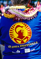 Close up of an aloha festival T-shirt at the annual aloha week parade
