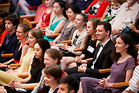 Contestants watch the proceedings during the opening ceremony of the 11th USA International Harp Competition at Indiana University in Bloomington, Indiana on Wednesday, July 3, 2019. (Photo by James Brosher)