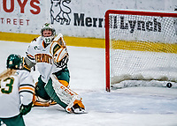 1 December 2018: University of Vermont Catamount Goaltender Melissa Black, a Senior from Newmarket, Ontario, gives up a a first period goal to the University of Maine Black Bears at Gutterson Fieldhouse in Burlington, Vermont. The Lady Cats defeated the Lady Bears 3-2 in the second game of their 2-game Hockey East series. Mandatory Credit: Ed Wolfstein Photo *** RAW (NEF) Image File Available ***