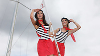 ****NO FEE PIC****.French Mademoiselles .Sinead Noonan.Suzanne McCabe .at the National Yacht Club Dun Laoghaire to launch Festival Des Bateaux which takes place between August 11th and 14th 2011 .Dun Laoghaire will be the only international stop on the world famous French Solitaire du Figaro yacht race.  To celebrate the stopover of this iconic 3,390 km race, Dun Laoghaire Rathdown County Council, the Dun Laoghaire Harbour Company and the National Yacht Club have joined forces to create Festival des Bateaux.  The harbour will be a magnificent tapestry of colour as the boats arrive for this international event.  Dun Laoghaire will be resplendent with fireworks, music and the sights, sounds, foods, and 'joie de vivre' of France..Photo: Gareth Chaney Collins