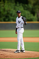 GCL Yankees East relief pitcher Luis Rijo (15) during the first game of a doubleheader against the GCL Blue Jays on July 24, 2017 at the Yankees Minor League Complex in Tampa, Florida.  GCL Blue Jays defeated the GCL Yankees East 6-3 in a game that originally started on July 8th.  (Mike Janes/Four Seam Images)