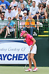 USA Paula Creamer celebrates after making her birdie putt on the 9th hole at the LPGA Championship 2011 Sponsored By Wegmans at Locust Hill Country Club in Rochester, New York on June 24, 2011
