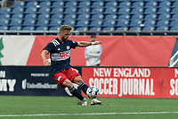 FOXBOROUGH, UNITED STATES - MAY 28: Pierre Cayet #44 of New England Revolution II passes the ball during a game between Fort Lauderdale CF and New England Revolution II at Gillette Stadium on May 28, 2021 in Foxborough, Massachusetts.