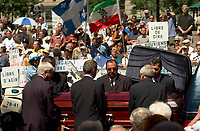 June 22, 2003, Montreal, Quebec, Canada.<br /> <br /> The Funerals of Pierre Bourgault, Communicator, Teacher and former politician are attended by independantist politicians and artists, <br />  June 22, 2003 at the Notre Dame Basilica in Montreal, Canada.<br /> <br /> Mandatory Credit: Photo by Pierre Roussel- Images Distribution. (©) Copyright 2003 by Pierre Roussel