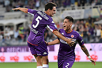 Lucas Martinez Quarta of ACF Fiorentina celebrates with Giacomo Bonaventura of ACF Fiorentina after scoring the goal of 1-0 during the Serie A 2021/2022 football match between ACF Fiorentina and SSC Napoli at Artemio Franchi stadium in Florence (Italy), October 3rd, 2021. Photo Andrea Staccioli / Insidefoto