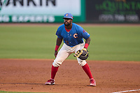 Clearwater Threshers first baseman D.J. Stewart (12) during a game against the Lakeland Flying Tigers on May 5, 2021 at BayCare Ballpark in Clearwater, Florida.  (Mike Janes/Four Seam Images)