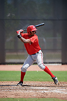 Washington Nationals Jeyner Baez (14) at bat during a minor league Spring Training game against the Houston Astros on March 28, 2017 at the FITTEAM Ballpark of the Palm Beaches in West Palm Beach, Florida.  (Mike Janes/Four Seam Images)