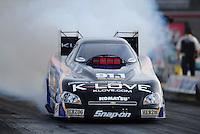 Mar. 30, 2012; Las Vegas, NV, USA: NHRA funny car driver Tony Pedregon during qualifying for the Summitracing.com Nationals at The Strip in Las Vegas. Mandatory Credit: Mark J. Rebilas-