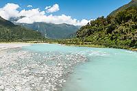 Glacial waters of Karangarua river, Westland National Park, West Coast, World Heritage Area, South Westland, New Zealand