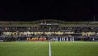 The Teams line up during the Johnstone's Paint Trophy match between Bristol Rovers and Wycombe Wanderers at the Memorial Stadium, Bristol, England on 6 October 2015. Photo by Andy Rowland.