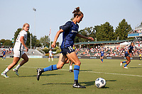 CARY, NC - SEPTEMBER 12: Havana Solaun #19 of the North Carolina Courage plays the ball during a game between Portland Thorns FC and North Carolina Courage at Sahlen's Stadium at WakeMed Soccer Park on September 12, 2021 in Cary, North Carolina.