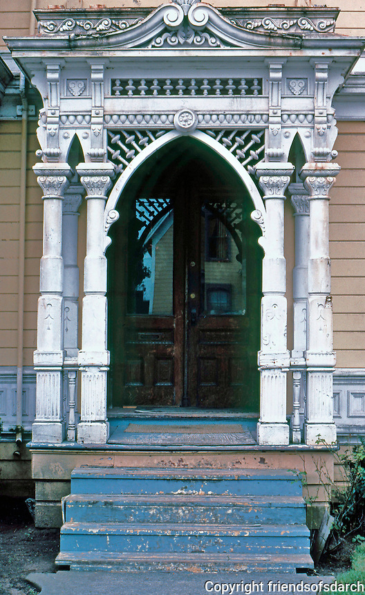 """Eureka CA: Simpson House--Porch.   Samuel & Joseph C. Newsom, 1884. Queen Anne style with ornamented porch as a """"picture frame"""".   Photo '83."""