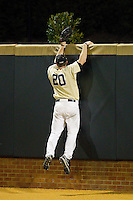 Wake Forest Demon Deacons right fielder Jack Carey (20) tries in vane to scale the wall to stop a home run from leaving the park during the game against the North Carolina State Wolfpack at Wake Forest Baseball Park on March 15, 2013 in Winston-Salem, North Carolina.  The Wolfpack defeated the Demon Deacons 12-6.  (Brian Westerholt/Four Seam Images)