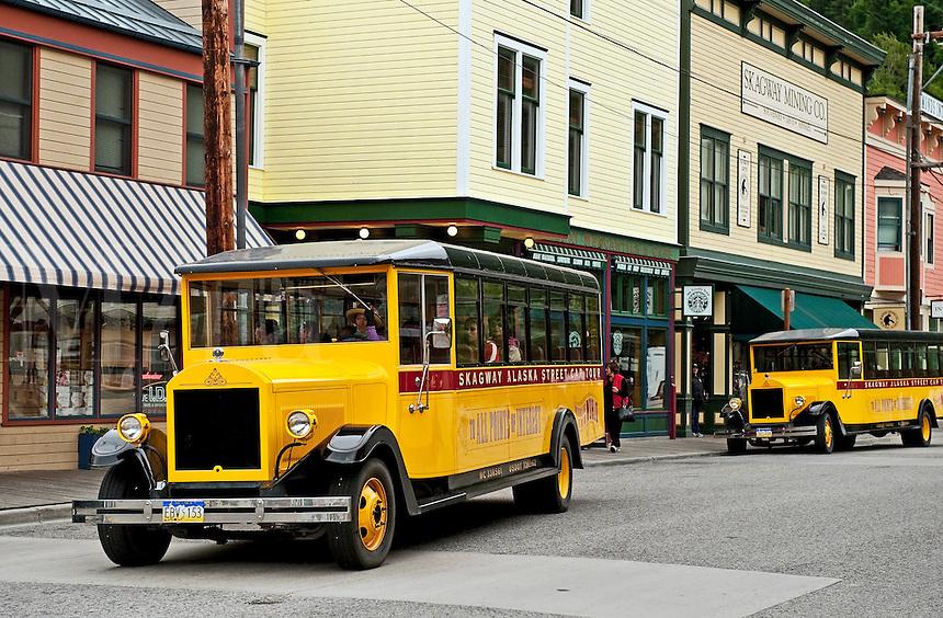 Colorful street car tours vehicle, Skagway, AK, Alaska, USA