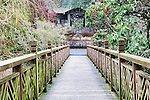 Walking Bridge, Crystal Springs Rhododendron Garden crossesCrystal Springs Lake between lush botanical gardens with over 2,500 rhododenrons and azaleas.  Portland, Oregon Parks.