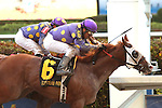 September 05, 2015: #6 Twotwentyfive A (FL) with jockey Jose Caraballo on board defeats his stablemate Southern Barbeque in the Florida Sire Stakes Prized Division at Gulfstream Park in Hallandale Beach, FL.  Liz Lamont/ESW/CSM