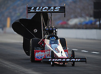 Jul, 9, 2011; Joliet, IL, USA: NHRA top fuel dragster driver Shawn Langdon during qualifying for the Route 66 Nationals at Route 66 Raceway. Mandatory Credit: Mark J. Rebilas-
