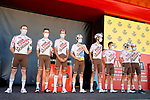 AG2R Citroen Team best team from yesterday's stage at sign on before the start of Stage 15 of La Vuelta d'Espana 2021, running 197.5km from Navalmoral de la Mata to El Barraco, Spain. 29th August 2021.     <br /> Picture: Luis Angel Gomez/Photogomezsport | Cyclefile<br /> <br /> All photos usage must carry mandatory copyright credit (© Cyclefile | Luis Angel Gomez/Photogomezsport)