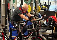 Dai on one of the training bikes during the Swansea City Training at The Fairwood Training Ground, Swansea, Wales, UK. Wednesday 22 November 2017
