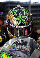Oct. 31, 2008; Las Vegas, NV, USA: NHRA pro stock motorcycle rider Angelle Sampey during qualifying for the Las Vegas Nationals at The Strip in Las Vegas. Mandatory Credit: Mark J. Rebilas-