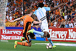 BRISBANE, AUSTRALIA - OCTOBER 30: Bruce Kamau of Melbourne is tackled by Corey Brown of the Roar during the round 5 Hyundai A-League match between the Brisbane Roar and Melbourne City at Suncorp Stadium on November 4, 2016 in Brisbane, Australia. (Photo by Patrick Kearney/Brisbane Roar)