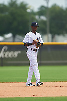 GCL Yankees West shortstop Brayan Jimenez (17) during the second game of a doubleheader against the GCL Yankees East on July 19, 2017 at the Yankees Minor League Complex in Tampa, Florida.  GCL Yankees West defeated the GCL Yankees East 3-1.  (Mike Janes/Four Seam Images)