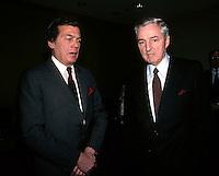 Montreal (Qc) CANADA - April 1988 File photo - Egdar Bronfman (Senior), Seagram's.(L) talk with Paul Desmarais (Senior), CEO, Power Corporation (R)<br /> <br /> Egdar Bronfman (Senior) ,Canadian born billionaire and longtime World Jewish Congress president.<br /> <br /> Born June 20, 1929, Edgar Bronfman is one of four children of Samuel and Saidy Bronfman . He  died December 21,2013