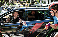 Non other than Steve Bauer (CAN) handing out the bottles today<br /> <br /> Women Elite - Road Race (WC)<br /> from Antwerp to Leuven (158km)<br /> <br /> UCI Road World Championships - Flanders Belgium 2021<br /> <br /> ©kramon