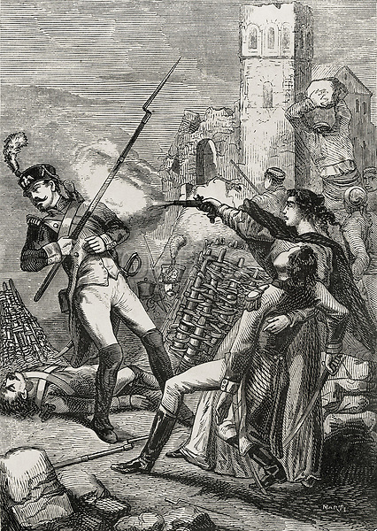 Spain (1808-1814). Peninsular War. Sieges of Saragossa. Spanish woman shooting a French soldier. Etching. SPAIN. Zaragoza. Dip