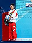 Kosuke Hagino (JPN),<br /> JULY 28, 2013 - Swimming : Silver medalist Kosuke Hagino of Japan celebrates on the podium after the men's 400m freestyle final during the World Swimming Championships at the Sant Jordi arena in Barcelona, Spain.<br /> (Photo by Daisuke Nakashima/AFLO)