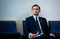 Chad Gilmartin, Principal Assistant White House press secretary, listens during a news conference in the James S. Brady Press Briefing Room at the White House in Washington D.C., U.S. on Monday, June 22, 2020. <br /> Credit: Al Drago / Pool via CNP/AdMedia