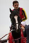 FUCHU,JAPAN-FEBRUARY 05: Black Spinel,ridden by Mirco Demuro, after winning the Tokyo Shimbun Hai at Tokyo Racecourse on February 05,2017 in Fuchu,Tokyo,Japan (Photo by Kaz Ishida/Eclipse Sportswire/Getty Images)