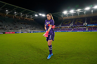 ORLANDO CITY, FL - FEBRUARY 18: Alyssa Naeher #1 of the United States prepares for the game during a game between Canada and USWNT at Exploria Stadium on February 18, 2021 in Orlando City, Florida.