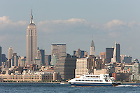 NY Waterway ferry Bravest on the Hudson River, with the Manhattan skyline in the background