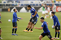 SAN JOSE, CA - SEPTEMBER 13: Nick Lima #24 of the San Jose Earthquakes goes up for a header during warmups before a game between Los Angeles Galaxy and San Jose Earthquakes at Earthquakes Stadium on September 13, 2020 in San Jose, California.