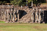 Cambodia, Angkor Thom.  Steps Leading to the Elephant Terrace.