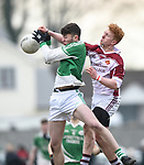 Conor Dillon of  Ennistymon CBS  in action against Conor Burns of  St Declan's Kilmacthomas during their Munster C Colleges football final at Rathkeale. Photograph by John Kelly.